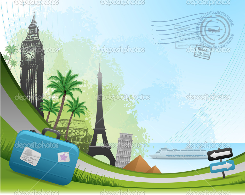 Postal card travel background