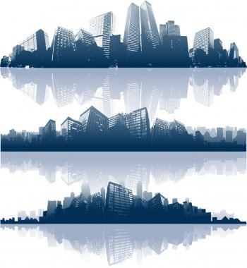 Cityscapes silhouettes background clip art vector
