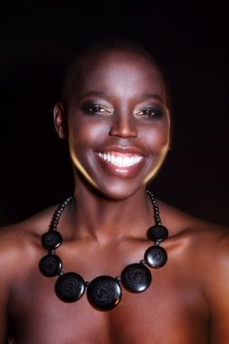 Black African young sexy fashion model studio portrait isolated in white