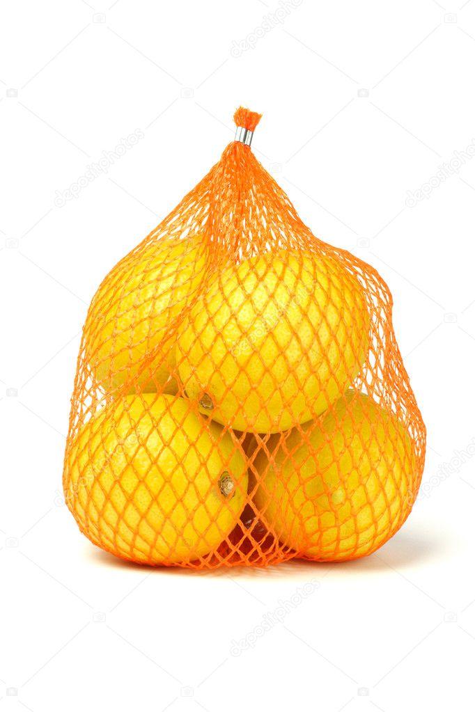 Lemons in plastic netting