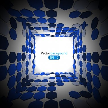 3d blue business abstract background. Vector illustration