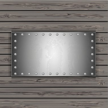 Metal plate on wooden boards. vector illustration