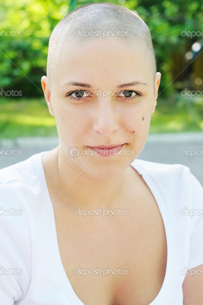 Funny hairless girl
