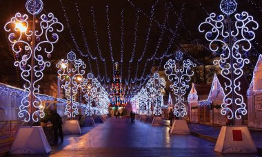 Christmas lights in Saint Petersburgs street