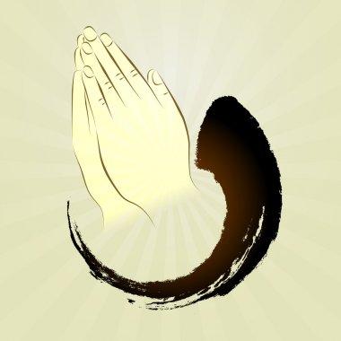 Vector: Praying hands, namaste, zen gesture, prayer,put hands to