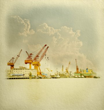 Large crane in harbor on White Paper fine Texture