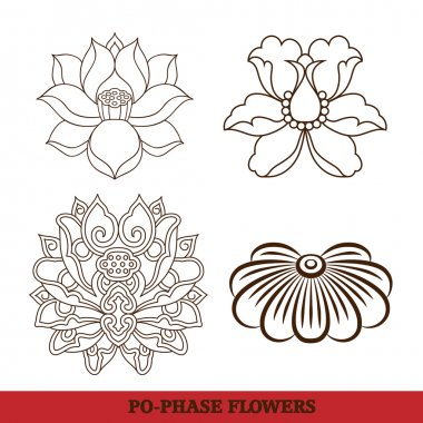 Chinese virtual po-phase flowers set: lotus,Paeonia suffruticosa