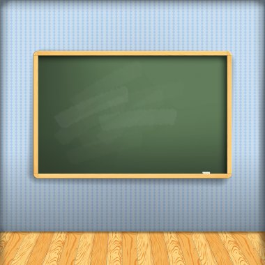 Vector: empty school blackboard at blue wall in interior with wo