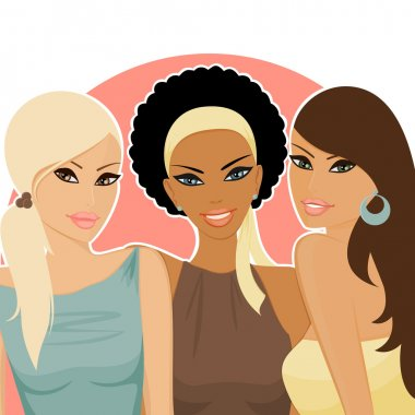 A group of female friends of different ethnic backgrounds. All elements are grouped and layered for easy editing. clip art vector