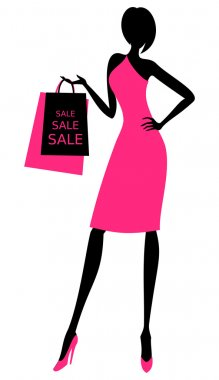 Illustration of a young elegant woman holding shopping bags. clip art vector