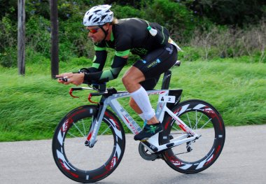Ironman triathlete cycling