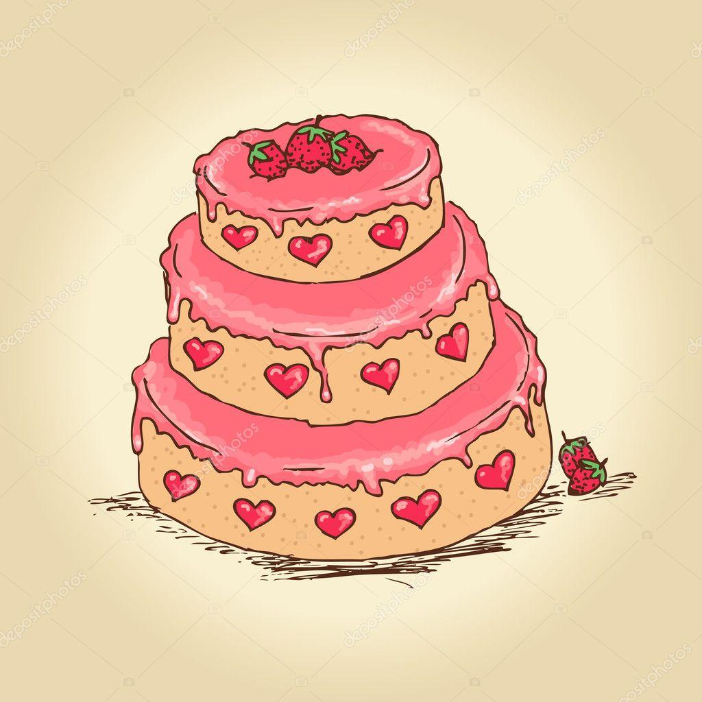 Awe Inspiring Valentine Birthday Cakes Valentine Cake Stock Vector Birthday Cards Printable Inklcafe Filternl
