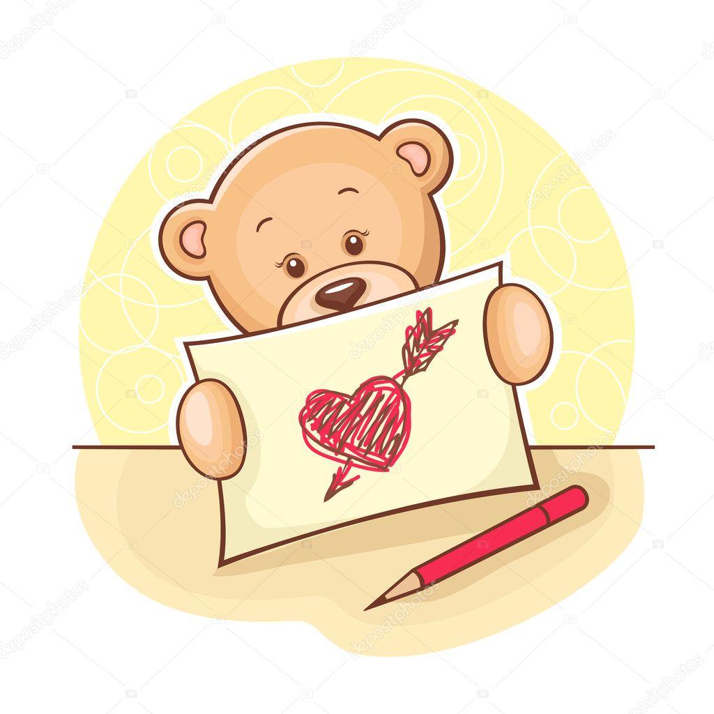 teddyb r mit herz zeichnen stockfoto chistoprudnaya 9977383. Black Bedroom Furniture Sets. Home Design Ideas