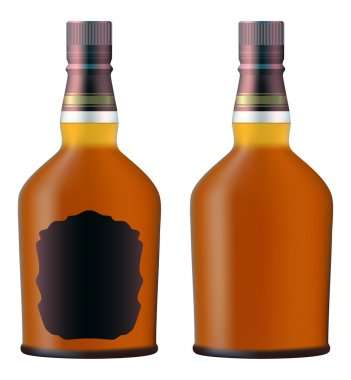Set of whiskey bottles