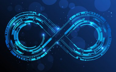 Infinity sign. Abstract technology circles lines background