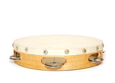 Wood and leather tambourine