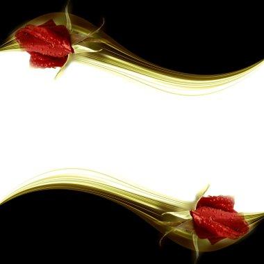 Elegant romantic card red rosebuds