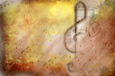 Grunge treble clef musical poster