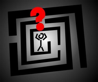 A man into a labyrinth sets a question