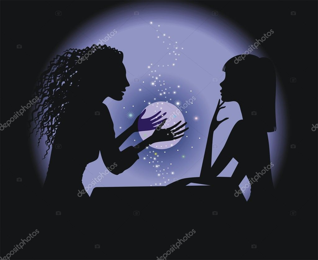 Silhouette fortune-teller and girl with a magic ball