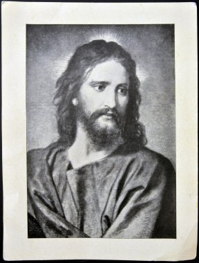 SPAIN - CIRCA 1950: A postcard printed in Spain shows face of Jesus Christ, circa 1950