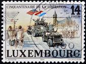 Lucembursko - cca 1994: razítka vytištěno v Lucemburku ukazuje osvobození od fašismu v Evropě cca 1994