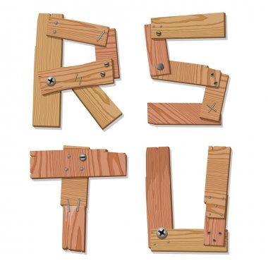 Rustic Wooden Font Alphabet Letters RSTU