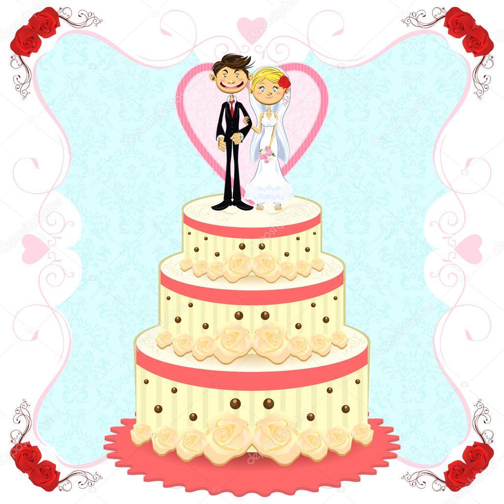 Romantische Hochzeitstorte Stockvektor C Brancaescova 10674079