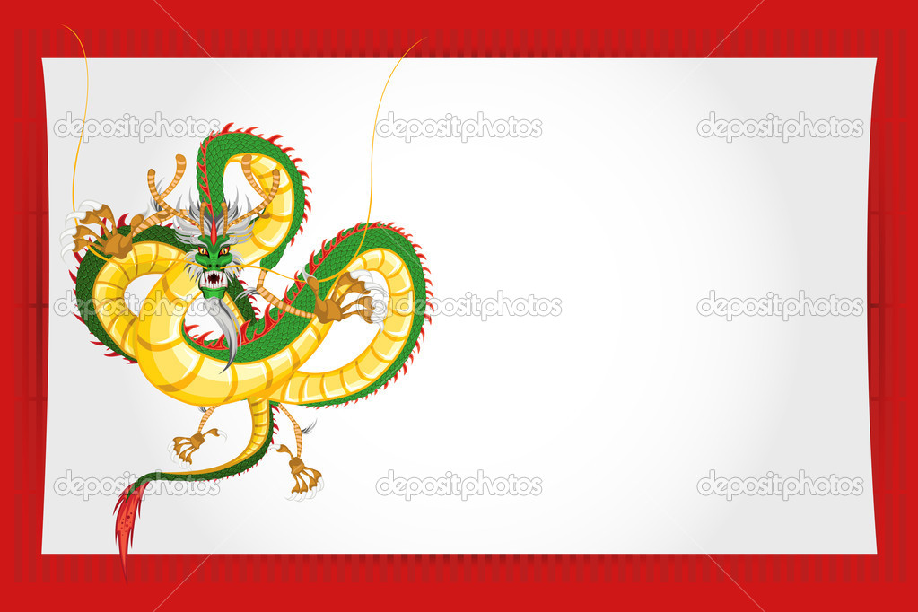 Chinese New Year Greeting Card Dragon — Stock Vector © brancaescova ...
