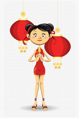 Chinese Girl New Year Greeting Card