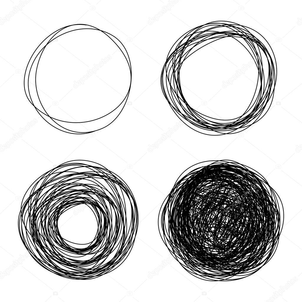 Pencil drawn circles bubbles, abstract vector illustration stock vector