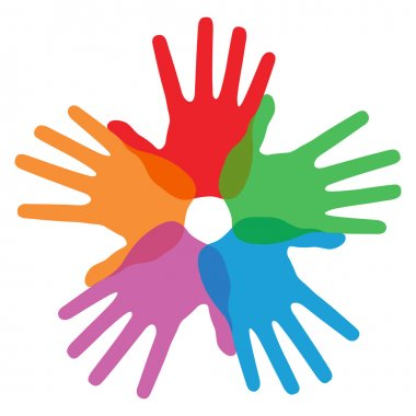 Circle of colorful hand prints