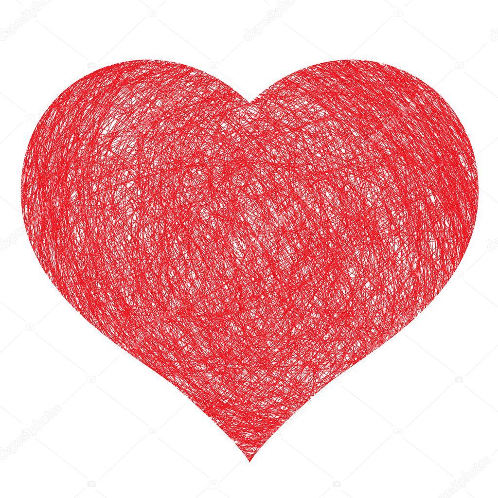 Hand drawn heart, vector illustration for design clipart vector