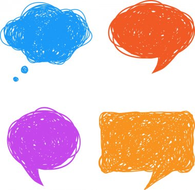 Colorful hand drawn speech and thought bubbles, illustration clip art vector