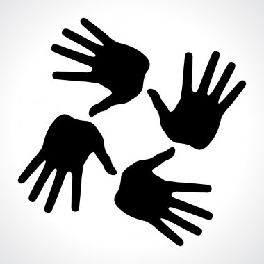 Hand prints icon, abstract illustration for design