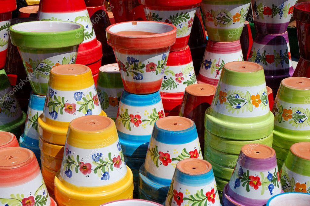 Kolorowe Donice Ceramiczne Zdjęcie Stockowe Philipus