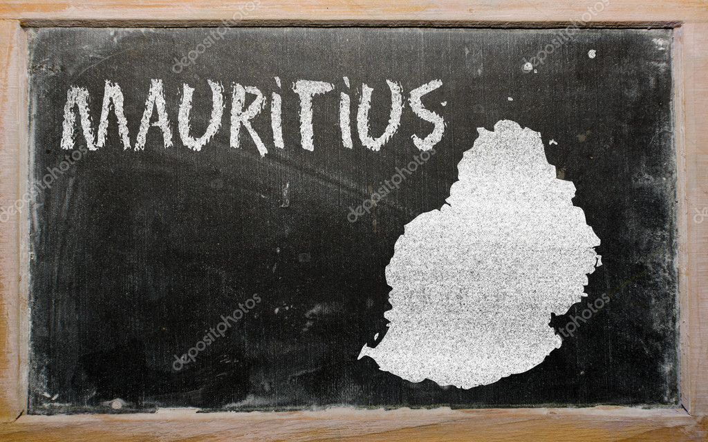 Outline map of mauritius on blackboard — Stock Photo © vepar5 #10119690