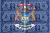 US-Bundesstaat Michigan Flagge mit transparenten Dollar-Banknoten in b