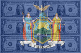US-Bundesstaat New York Flagge mit transparenten Dollar-Banknoten in b