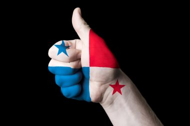 Panama national flag thumb up gesture for excellence and achieve