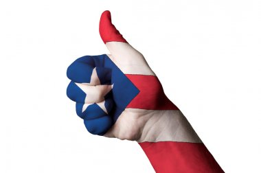 Puerto rico national flag thumb up gesture for excellence and ac
