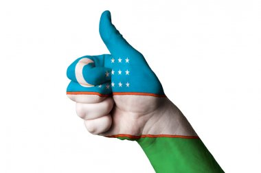 Uzbekistan national flag thumb up gesture for excellence and ach