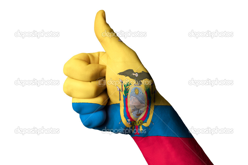 Ecuador National Flag Thumb Up Gesture For Excellence And Achiev