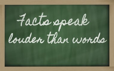 Expression - Facts speak louder than words - written on a schoo