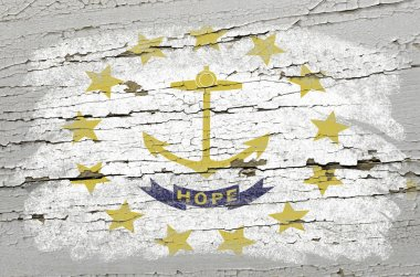 Flag of US state of rhode island on grunge wooden texture precis