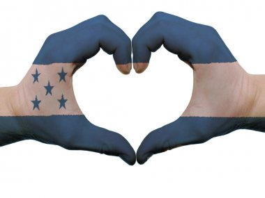 Heart and love gesture in honduras flag colors by hands isolated