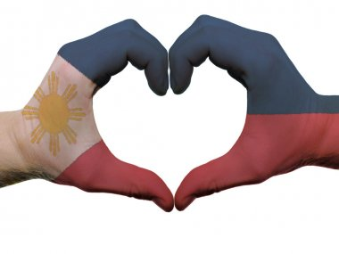 Heart and love gesture in philippines flag colors by hands isola