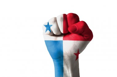 Fist painted in colors of panama flag