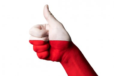 Poland national flag thumb up gesture for excellence and achieve