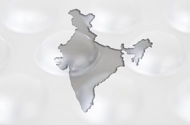 Outline map of india with pills in the background for health and